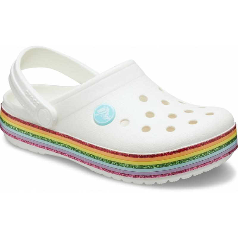 Crocband Rainbow Glitter Clog Kids White