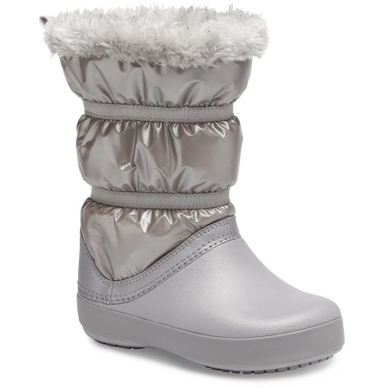 CrocsTM Crocband LodgePoint Metallic Boot Girl's, Silver Metallic