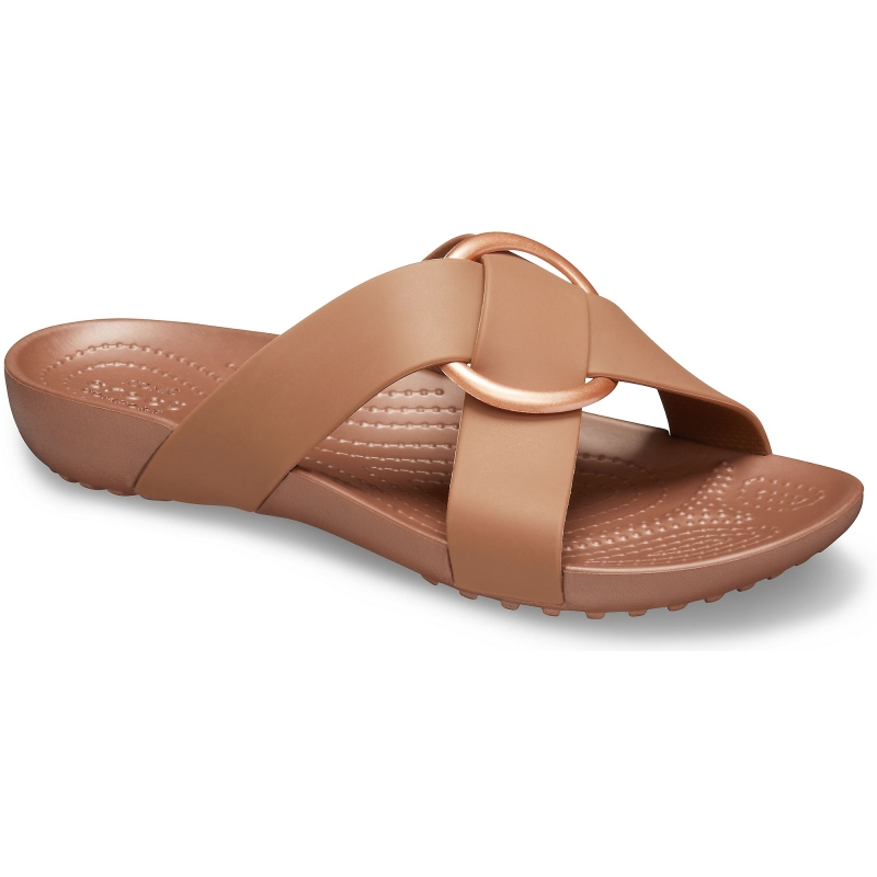 Serena Cross Band Slide Womens Bronze