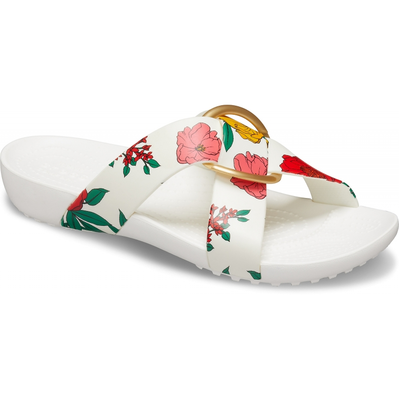 Serena Printed Cross Band Slide Womens Floral/White