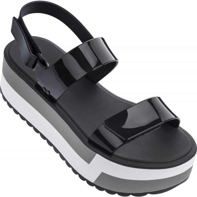 Slash Plat Sandal Black
