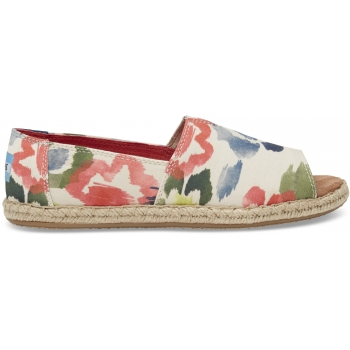 Watercolor Floral Women`s Open Toe Alpargata Tangerine
