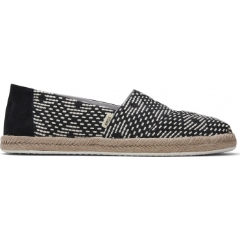 Geometric Woven Rope Women`s Alpargata Black