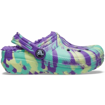 Classic Lined Marbled Clog Kids Neon Purple/Multi