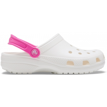 Crocs™ Classic Pop Strap Clog, White/Electric Pink