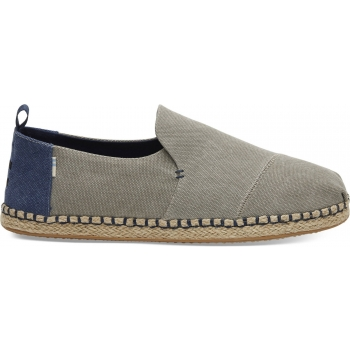 Washed Canvas Men`s Deconstructed Alpargata Rope Drizzle Grey