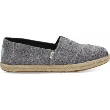 Chambray Dots on Rope Women`s Alpargata Black
