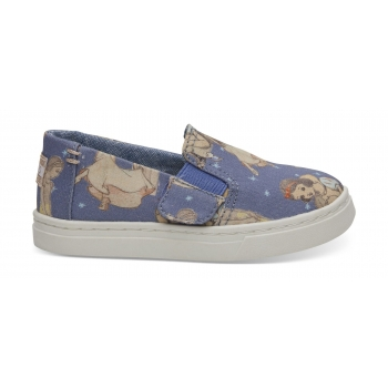 Snow White Printed Canvas Kid`s Luca Slipon Blue