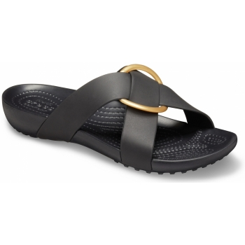 Serena Cross Band Slide Womens Black