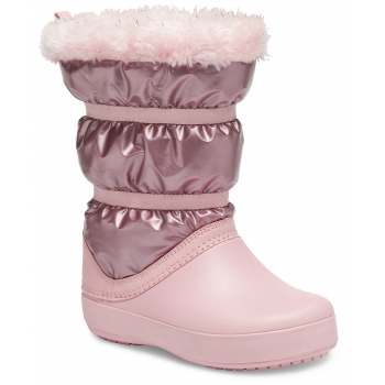 CrocsTM Crocband LodgePoint Metallic Boot Girl's, Rose Gold Metallic