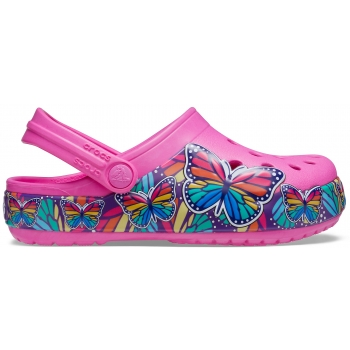 Funlab Multi Butterfly Band Light Clog Kids, Electric Pink