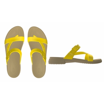 Crocs Tulum Toe Post Sandal W, Canary/Tan