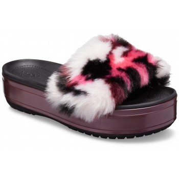 CrocsTM Crocband Platform So Luxe Slide, Black/Burgundy