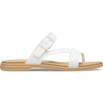Crocs Tulum Toe Post Sandal W, Oyster/Tan