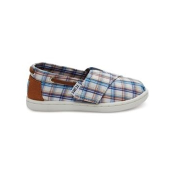 Woven Plaid Kid's Bimini Espadrille Blue Multi