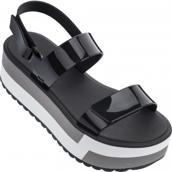 Slash Plat Sandal Black